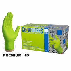 Gloveworks HD Green Nitrile (Box of 100)   Green Nitrile Gloves