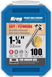 Kreg 1-1/4-Inch 8-Course Washer-Head Pocket Screws, 100-Count  Kreg, SML-C125-100, 1-1/4-Inch Course Pocket Screws,