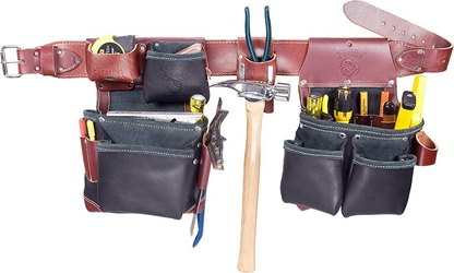 B5625 Black Leather Green Builder Tool Belt occidental leather, tool belt, leather tool belts, toolbelts, tool belt