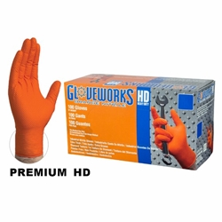 Gloveworks HD Orange Nitrile (Box of 100)   Orange Nitrile Gloves