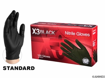 Standard Grade Black Nitrile Gloves (Box of 100)  Black Nitrile Gloves