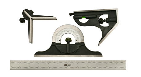 Combination Square and Protractor 4pc Set
